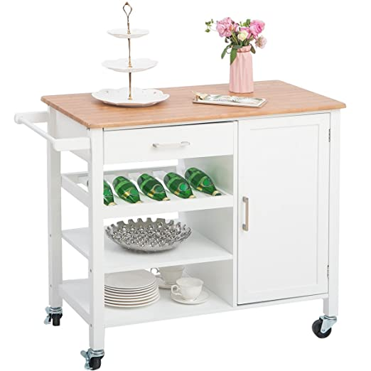 Merax Portable Storage Island Kitchen Trolley Cart With Drawers