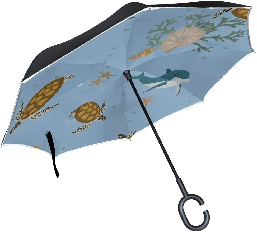 Double Layer Inverted Inverted Umbrella Is Light And Sturdy Sea Turtles Dolphins Marine Reverse Umbrella And Windproof Umbrella Edge Night Reflection