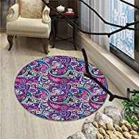 Navy and Blush Round Rugs for Bedroom Pattern Based on Traditional Asian Elements Paisley Old Fashioned FloralOriental Floor and Carpets Multicolor