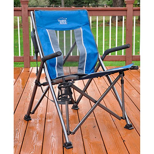 COMFY DURABLE With Carry Bag for Easy Transportation W/ DRINK HOLDER Durable Steel Frame Supports Up To 300 lbs BLUE Timber Ridge Bungee Chair - Perfect For Picnics, Camping, Tailgating - Tips Tailgating