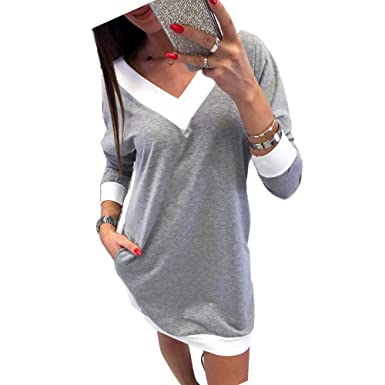 cf8c016a0bb26 Robe Sweat Shirt Femme Sexy Col V,Overdose Solde Hiver Blouse Manches  Longues Robes Courte Mini Dress: Amazon.fr: Vêtements et accessoires