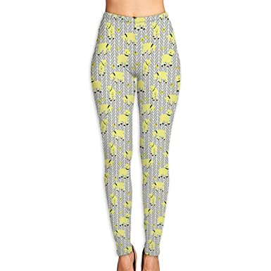 24d6babefc Amazon.com: Women's Yellow Goats On Grey Herringbone High Waist Yoga Pants  Workout Comfort Stretchy Leggings: Clothing