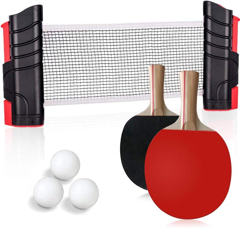 Conjunto de Tenis de Mesa con Red, 2 Raquetas + 1 Red Retráctil + 3 Bolas de Ping Pong + 1 Bolsa de Malla, Juego de Tenis de Mesa Portátil para Interior al Aire Libre