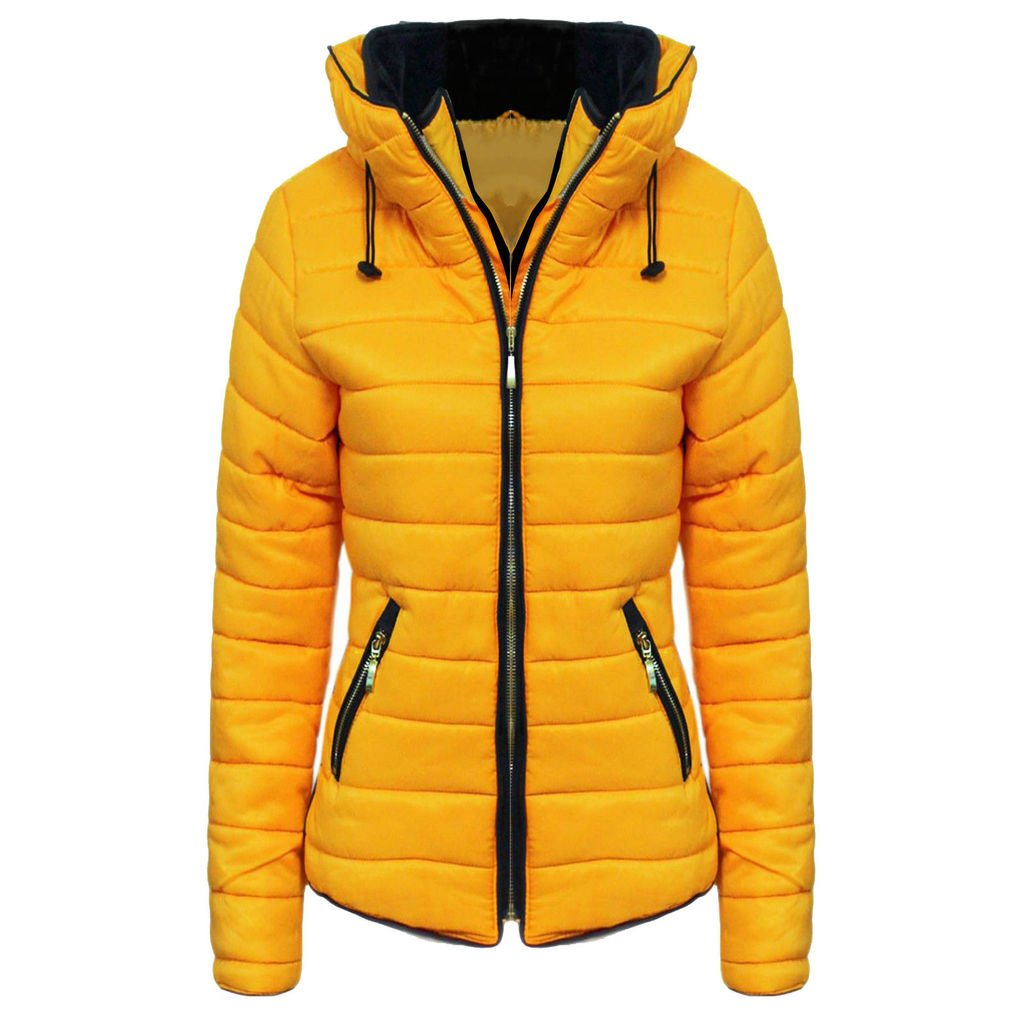 cc9a2aec H&F Girls Kids High Quality Zara Inspired Quilted Bubble Puffer Padded Long  Sleeve Zip up Faux Fur Inside Collar Mustard Coat Jacket Size 1-14 Years:  ...