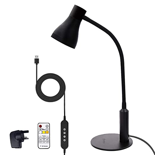 Desk Light with Clamp Clip 5 LED 2 Colors 3 Illumination Modes Table Lamp Bendable Tube with USB Charging Port Built-in High Capacity Rechargeable Battery for Study Reading Working Office Computer