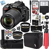 Beach Camera Nikon D5600 24.2 MP DX-Format DSLR Camera with AF-S 18-140mm ED VR Lens Kit + 32GB Battery Grip Accessory Bundle