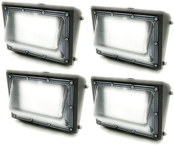 GENPAR 100W 4PK LED Wall Pack Light 11000lm Lumens 5700K Daylight 600 Watt Equivalent HPS 5 yrs Warranty Waterproof Security Area Lighting Outdoor Rated Replacement Lights Wallpack Warehouse