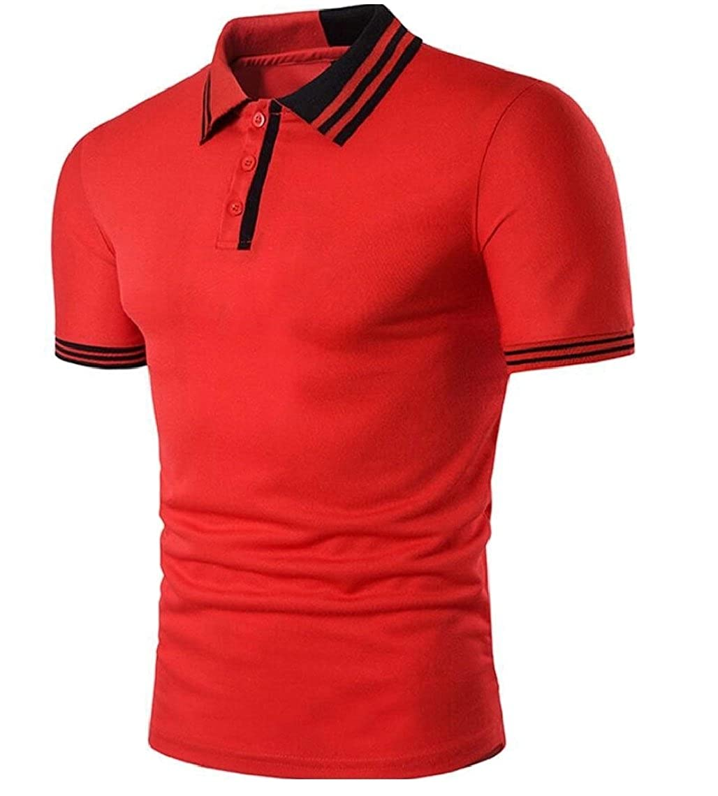 YONGM Mens Short Sleeve Collision Color Pinstripe Turn Down Collar Patchwork Polo Shirts
