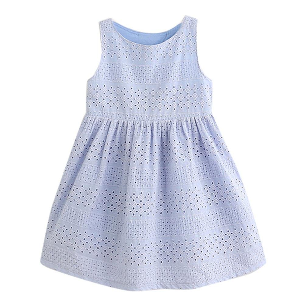 FEITONG Kids Baby Girls Summer Cute Bow Princess Dress Children Dresses Kids Clothes Outfits (4T/ 4Years, Blue)