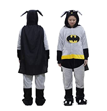 OUCHI Unisex Adult Trendy Pajamas Halloween Cosplay Hoody Animal Jumpsuit  Batman Grey US Tag S f00244a2c9df8