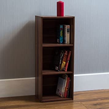 Home Discount Oxford 3 Etagen Cube Bücherregal, Walnuss Holz Regal Display  Stauraum Büro Wohnzimmer Möbel