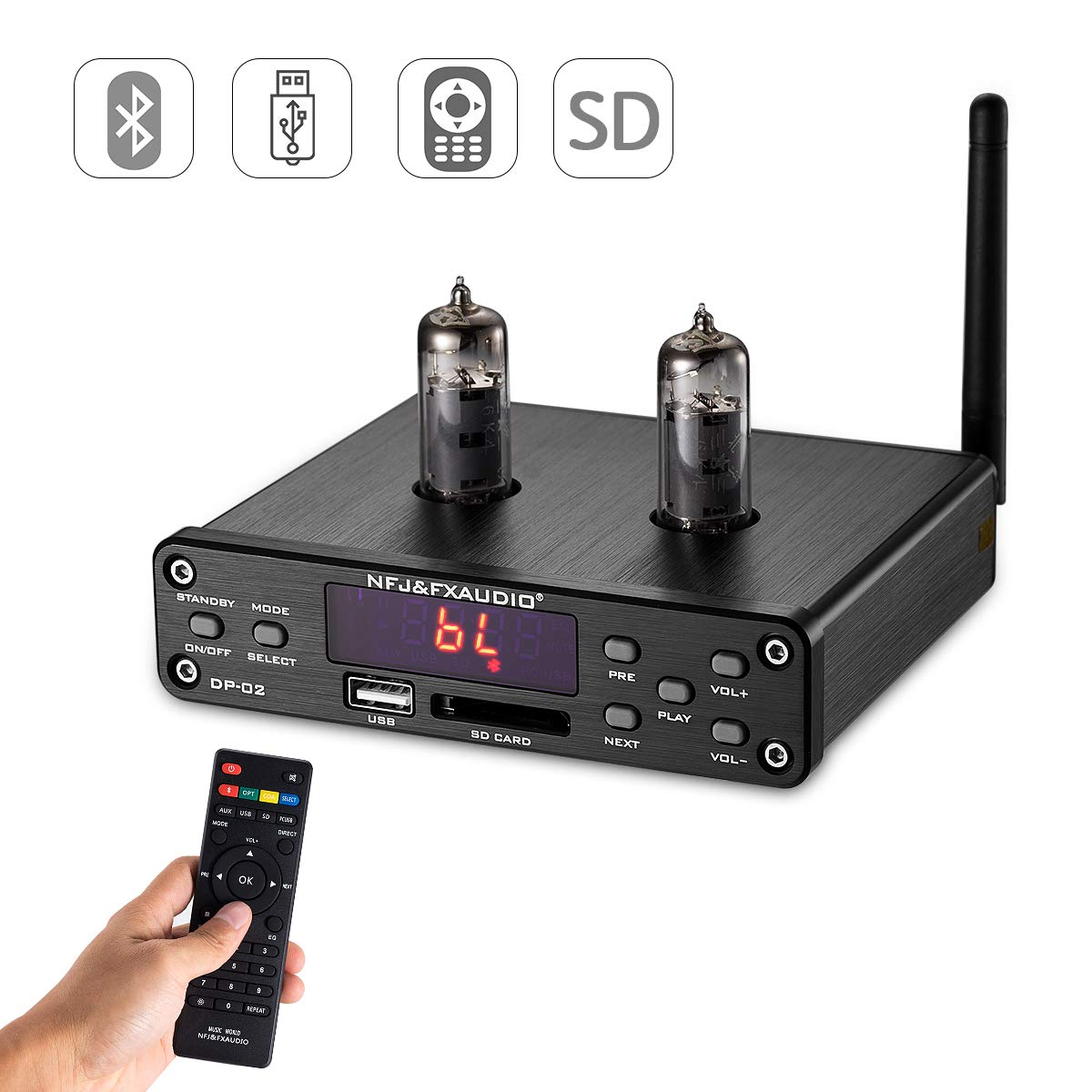 Nobsound HiFi 6K4 Vacuum Tube Preamplifier, Wireless Audio Hi-Fi Stereo Preamp, Remote Control, Bluetooth, U-Disk, SD Card, 3.5mm AUX, RCA Inputs (Black) by Douk Audio
