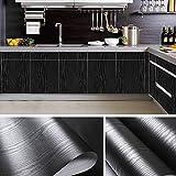 practicalWs Black Wood Grain Paper Self Adhesive