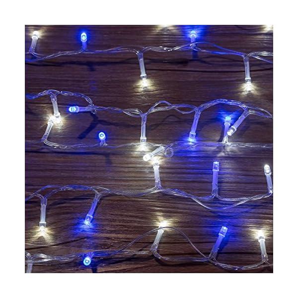 Catena Luminosa WISD Cavo Trasparente Stringa Luci Con 8 Modalità, Funzione Di Memoria, Decorativa Da Interni e Esterni, 33M 600 LED Catena Luci Per Casa/Natale/Giardino/Feste (Blu + Bianco) 2 spesavip