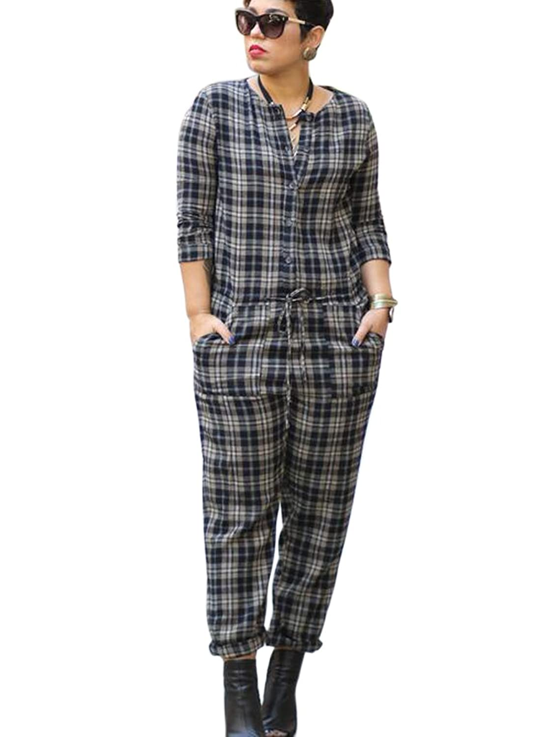 Aro Lora Women's 3/4 Sleeve Henley Button Down Top Plaid Casual Jumpsuits Rompers