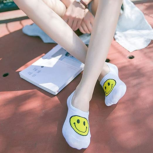 BOLAWOO-77 Smiley Face Calcetines Mujer Ocasionales Calcetines ...