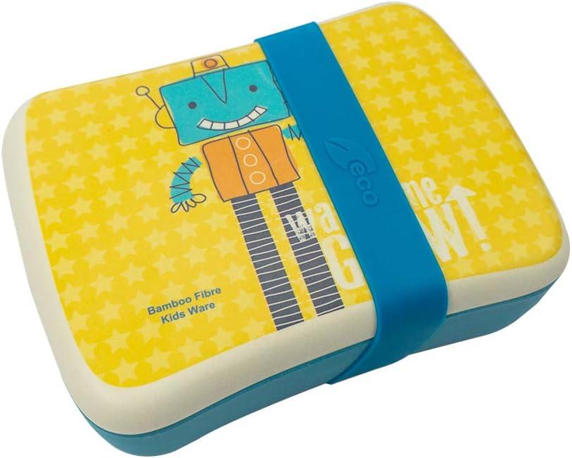 Various Fiambrera,Lonchera Infantil,Fibra de Bambú,Conjunto Sandwichera de bambú.Ideal para Infantil niños y bebé,Material ecológico sin BPA, Apto para lavavajilla-Robot