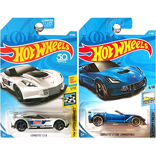 Hot Wheels 2018 Chevrolet Chevy Corvette C7 Z06 ZO6 and C7.R Summit Blue and White