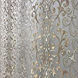 Paste The Wall only Wallpaper Embossed Modern Slavyanski wallcoverings Victorian Damask Pattern Vinyl Non-Woven Gray Silver Gold Bronze Metallic Textured Stripes Wall coverings 3D (Sample)