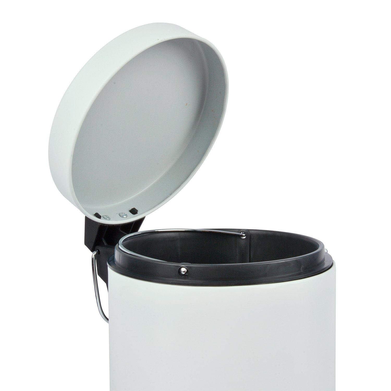 Idealcasa Juego baño de 3 Piezas Acero Blanco Mate. Incluye escobillero, Papelera con Pedal y jabonera