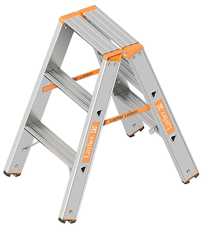 beidseitig begehbar Layher 1043008 Stufenstehleiter Topic 8 Aluminiumleiter 2x8 Stufen 80 mm breit klappbar L/änge 2.00 m