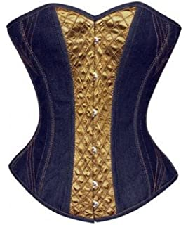 22a6225399 Blue Denim Olive Green Satin Gothic Costume Waist Cincher Basque Overbust  Corset
