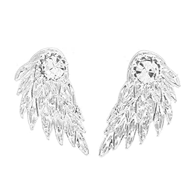 Black color Angel Wings Rhinestone Earrings