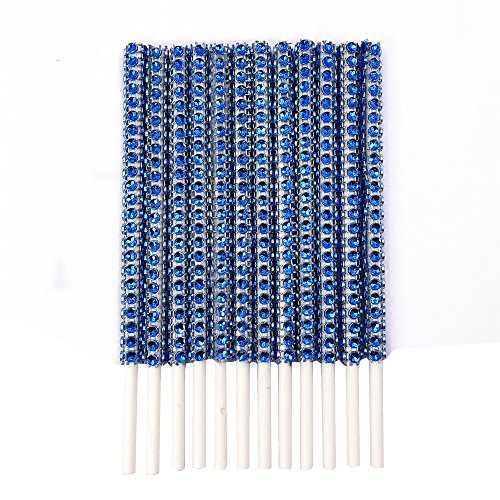Rhinestone Bling Paper Sticks for Lollipop Cake Pop Apple Candy Buffet Treat Party Favor 6 inch (Royal Blue, 24)