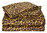 Linenaffairs Supreme Quality Leopard Animal Print Organic Cotton 4 PCs Sheet Set {(1) Fitted Sheet{+12'' Pocket Depth},(1) Flat Sheet & (2) Pillow cover} King Size 650-Thread-Count
