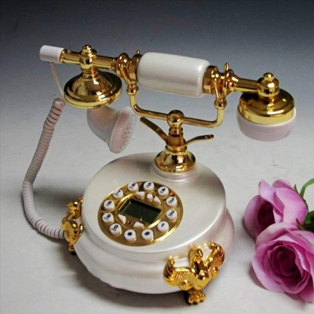 Retro Telephone,Caller ID Antique Telephone No Battery Marble Handle Accessories Digital LCD Display Mechanical Ringer Decorative Telephones-F by Bove