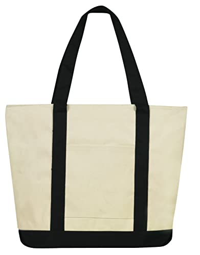 Amazon.com: Heavy-duty Cotton Canvas Shoulder Zipper Boat Tote ...