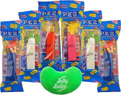 Pez Nintendo Super Mario Pez Dispensers 6 Pack Variety with Jelly Bean Emoji Mini Plush Toy