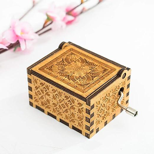 Sysow Caja de música de Madera Tallada Antigua, Caja de música de ...