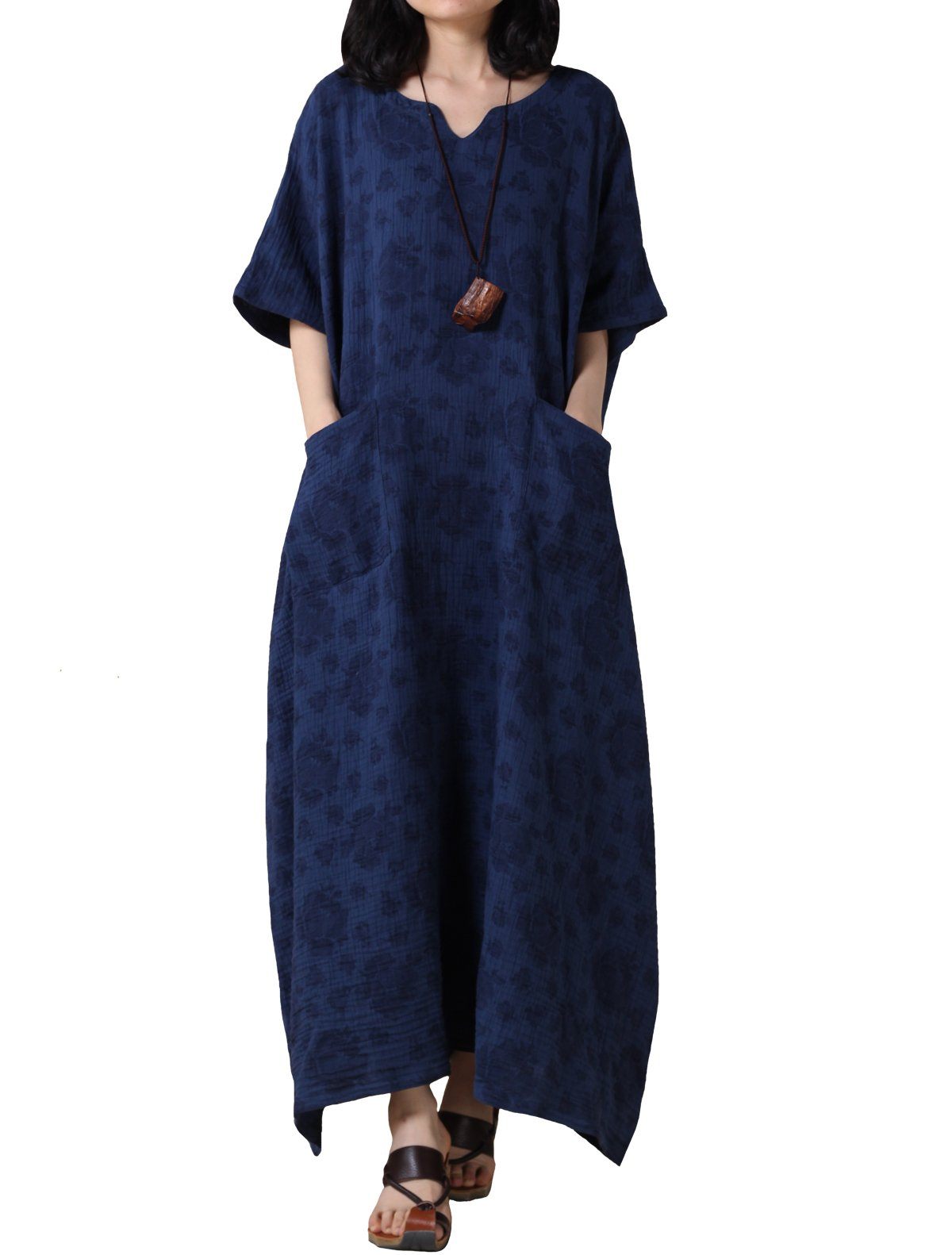 Mordenmiss Women's Cotton Linen Dresses with Pockets Plus Size Casual Travel Clothing