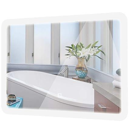 TANGKULA LED Bathroom Mirror Rounded Arc Corner Rectangle Wall Mounted  Makeup Vanity Mirror Led Light