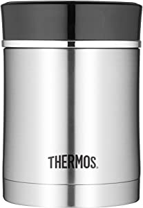 Thermos Stainless Steel Insulated Travel Food Jar With Lid, 16 Ounce, Black