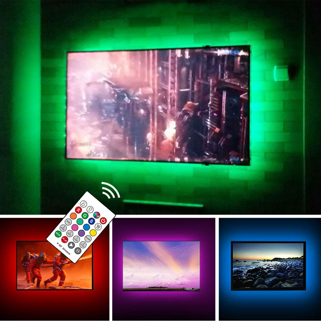 USB TV Backlight Kit for 70 75 80 82 inches Smart TV Monitor HDTV Work Space Decor - Cover 4/4 Sides Surround Behind TV Background Lights Ambient Mood Lighting