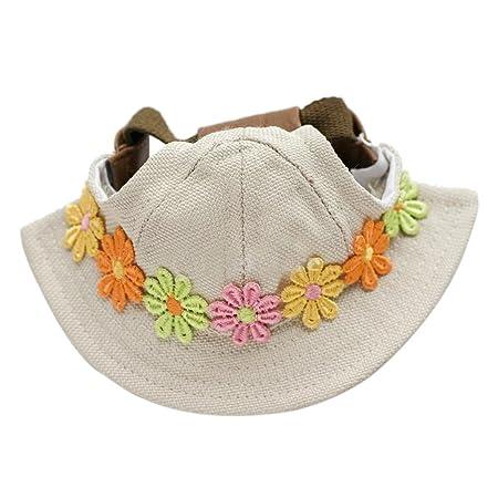 WINOMO Round Brim Pet Cap Visor Hat Pet Dog Mesh Porous Sun Cap with Ear  Holes ... 1ffdca46898f