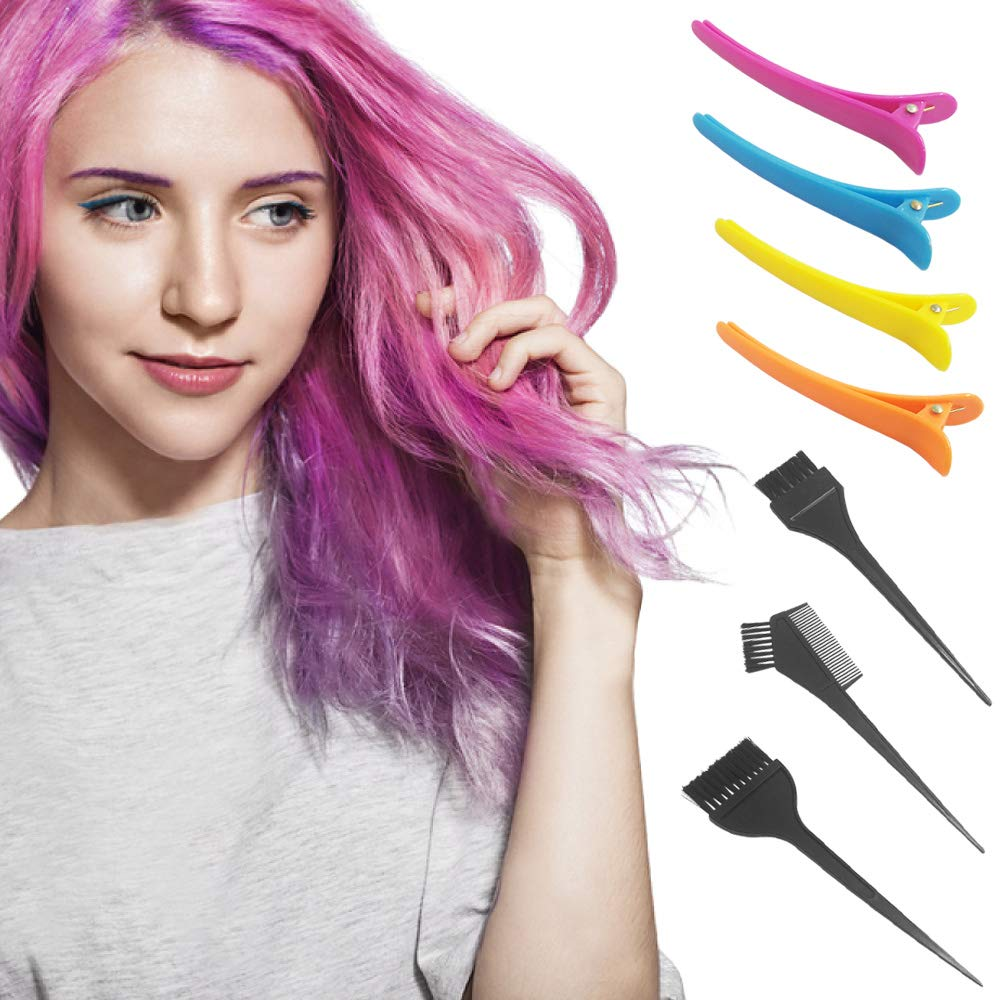 21 Packs Hair Dye Coloring Kit, Sonku Dye Brush Comb Mixing Bowl Ear Caps Shower Cap Apron Sectioning Clips and Hairbands for DIY Salon Hair Dye Tool : Beauty