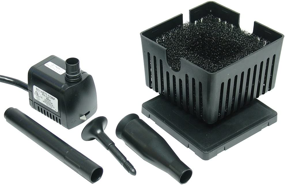 Beckett Corporation CGFK60 Submersible Pump and Container Kit Ideal for Mini Fountains, Water Gardens, and Bird Baths, Black