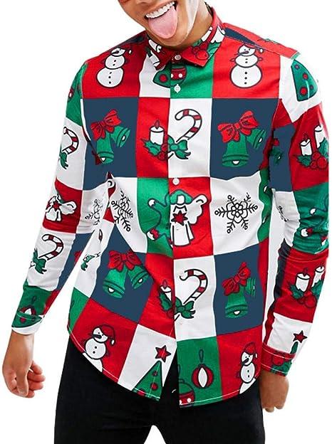 MUMU-001 Camisa Masculina Camisa Hombre Muñeco de Nieve Impreso Camisa navideña Recién Llegado Mangas largas Slim Top Blusas Hombre: Amazon.es: Deportes y aire libre