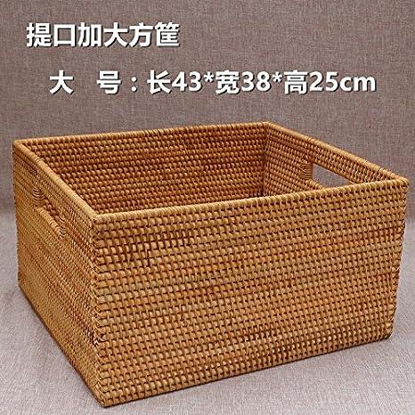 TIANLIANG04 Cesta de Mimbre Cesta de Almacenamiento Home Furnishing Caja Decorativa Ropa Caja de Almacenamiento Cesta Decorativa,43 * 38 * 25: Amazon.es: ...