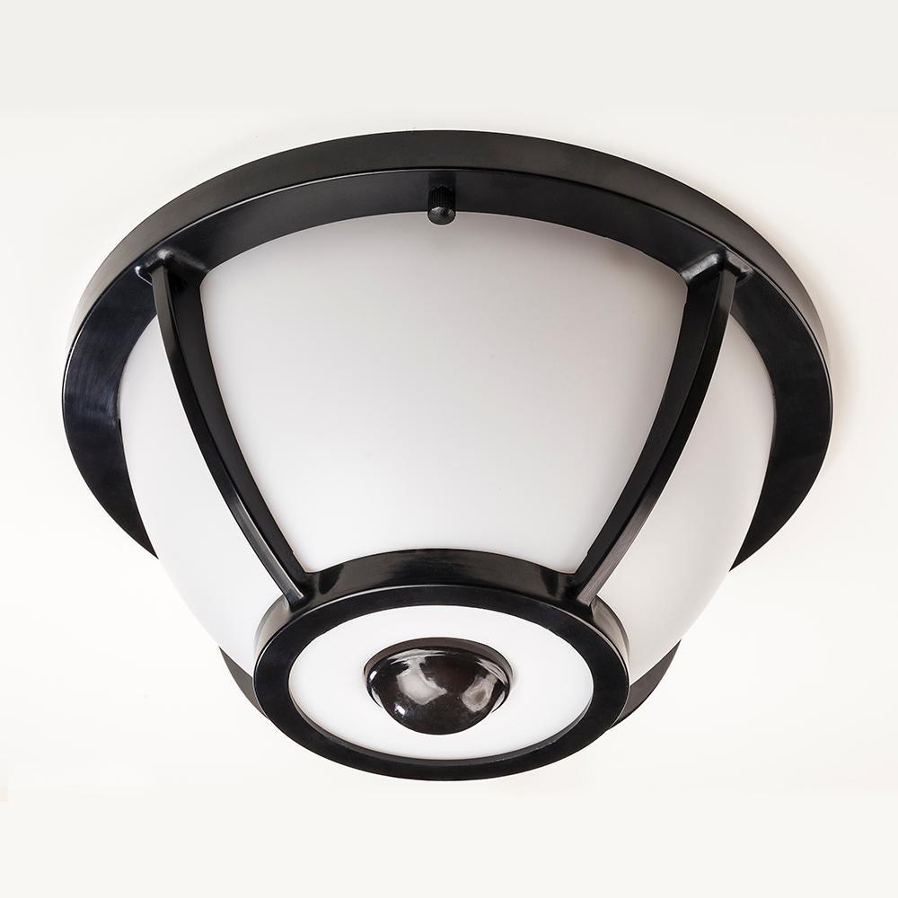 Hampton bay 360 degree matte black round integrated led motion sensing outdoor flush mount amazon com
