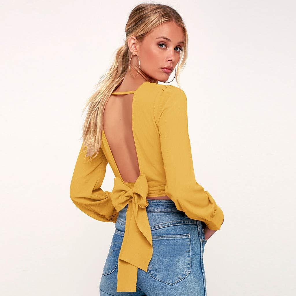 Wokasun.☂☂ Henley T Shirt,Womens Casual Twist Knot Long Sleeve Blouse Tops
