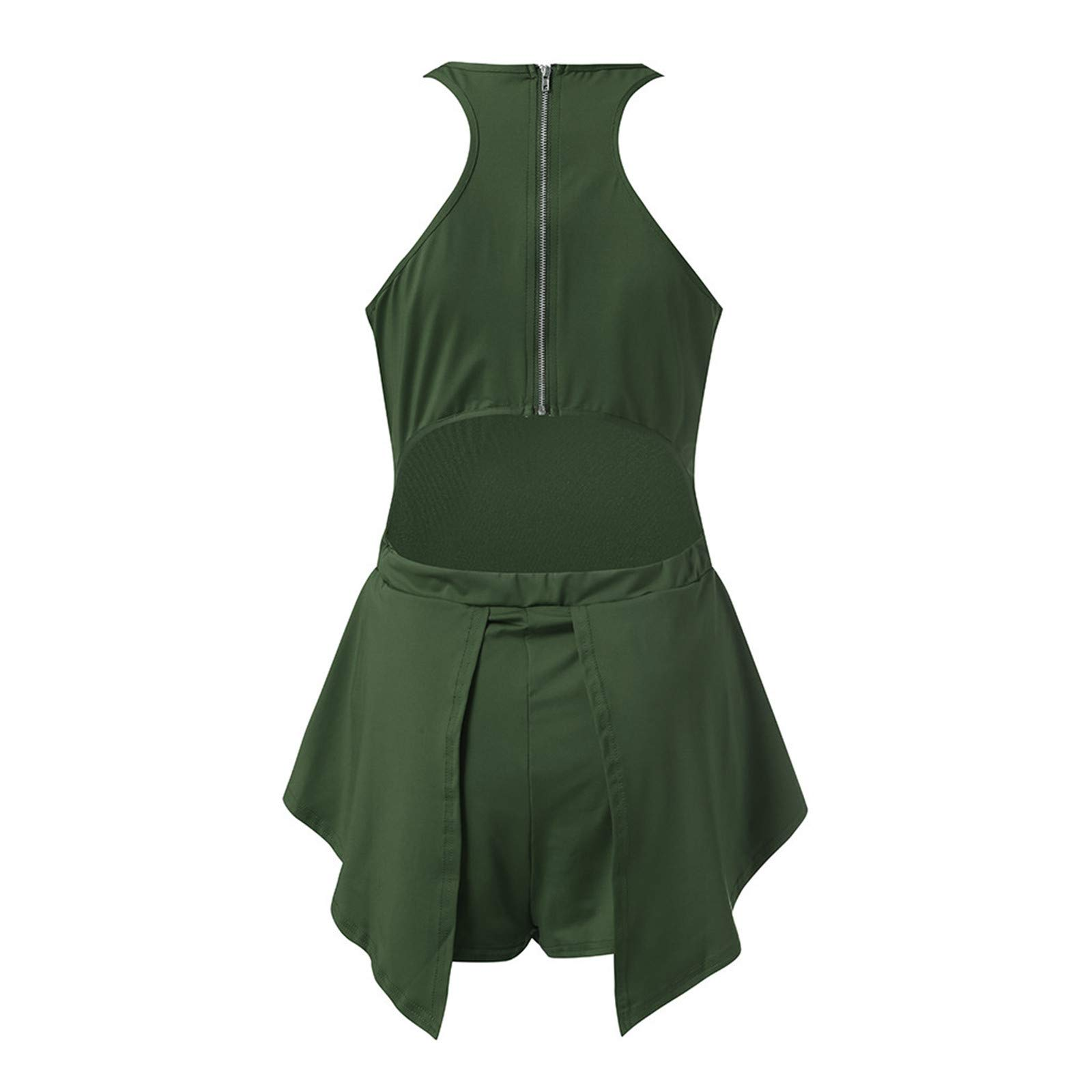 Thenxin Womens Halter Beach Jumpsuit Sleeveless Solid Color Zipper Back Ruffle Hem Holiday Rompers(Green,L) by Thenxin (Image #3)