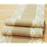 "Natural Burlap Table Runner with Lace Wedding Decor Rustic Shabby Chic Hessian Jute Outdoor Party Between (Length: 74"") (Length: 74"")"