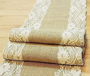 "Natural Burlap Table Runner with Lace Wedding Decor Rustic Shabby Chic Hessian Jute Outdoor Party (Length: 47"")"