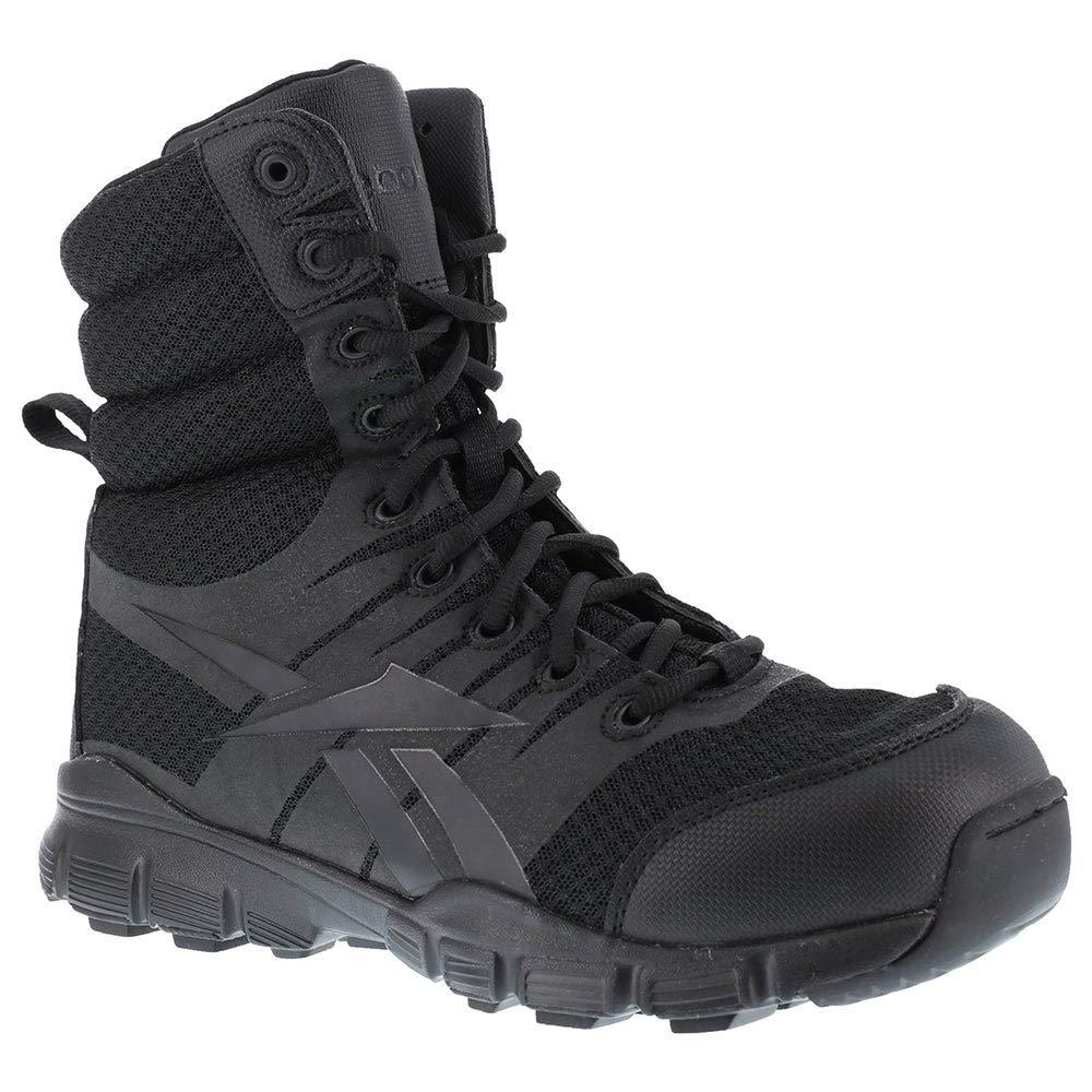 Reebok de Hombre Dauntless 8-Inch sin Costuras Laterales con Cremallera Boots-Black, tamaño 7