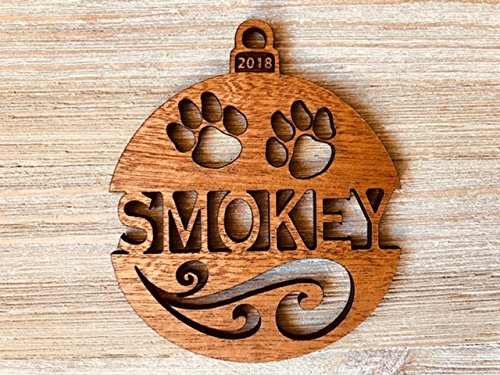 Name Personalized Ornament (Personalized Cat's Name 2018 Solid Wood Christmas Ornament. Ships Fast!)
