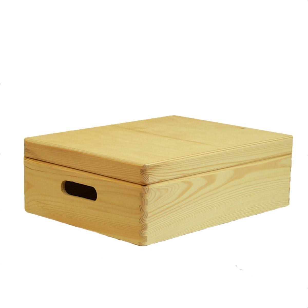 Compactor ran6480 Caja con Tapa, Madera sin Tratar, 40 x 30 x 14 cm: Amazon.es: Hogar